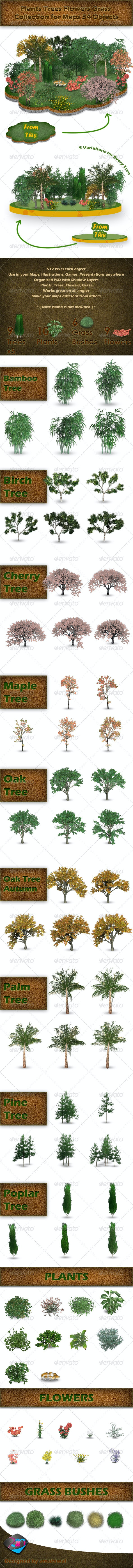 Plants Trees Flowers Grass Collection for Maps - Nature & Animals Isolated Objects