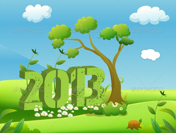 2013 Year in Green Landscape - New Year Seasons/Holidays