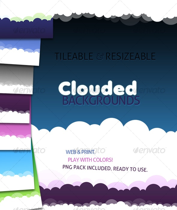 Tileable and Resizeable Clouded Backgrounds - Backgrounds Graphics