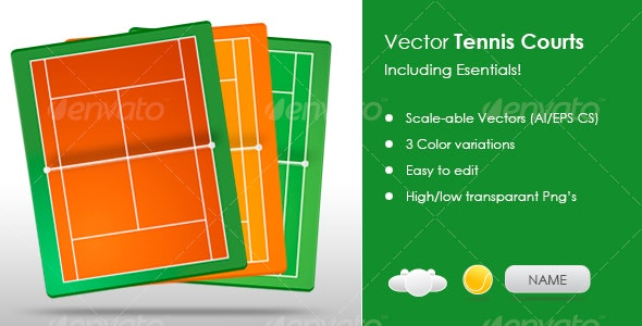 Tennis fields / courts including essentials - Sports/Activity Conceptual