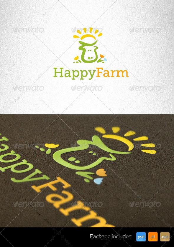 Happy Farm Natural Logo Template - Animals Logo Templates