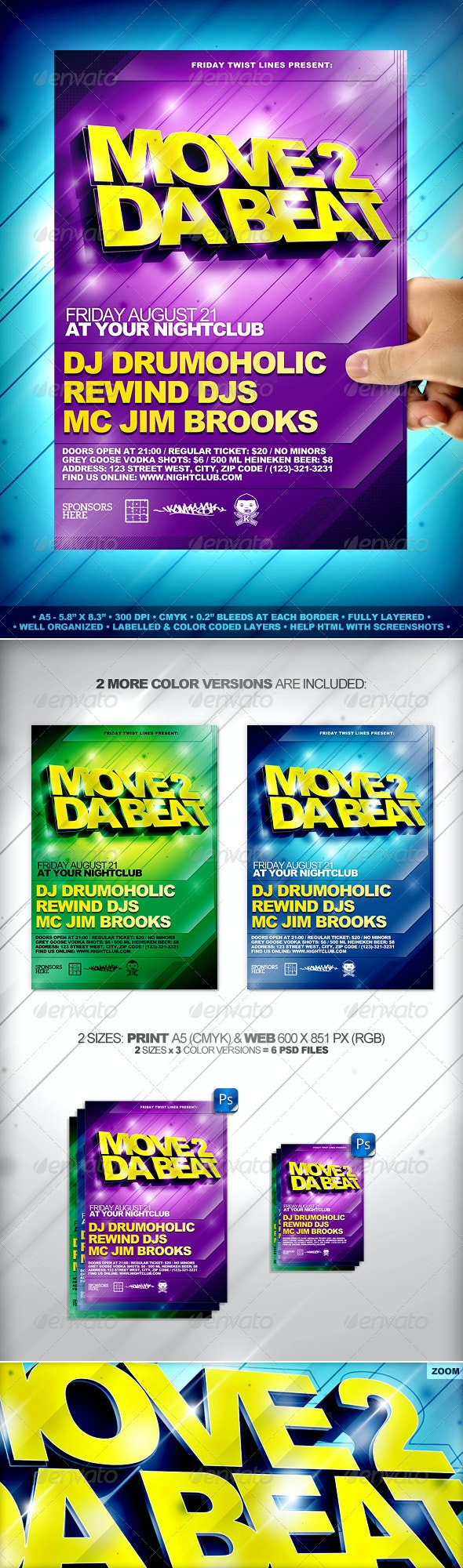 Move 2 Da Beat Flyer Template - Clubs & Parties Events