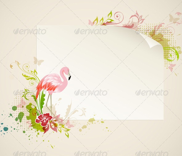 Banner with Flamingo - Animals Characters