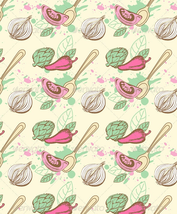 Seamless Pattern with Vegetables - Patterns Decorative