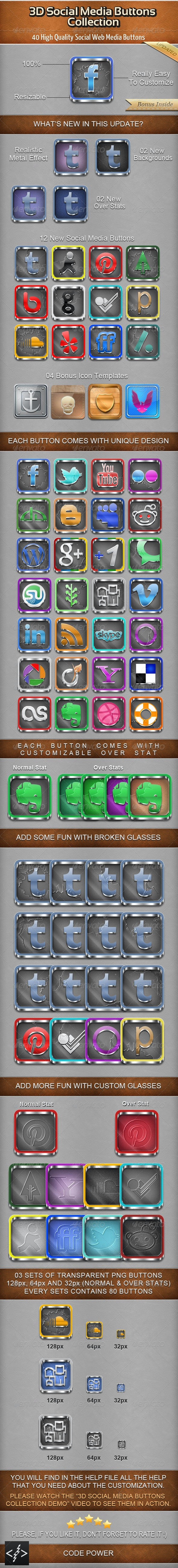 3D Social Media Buttons Collection - Buttons Web Elements