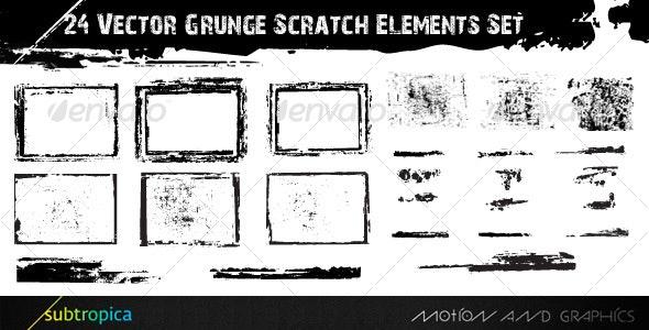 24 Vector Grunge Scratch Elements Set - Backgrounds Decorative