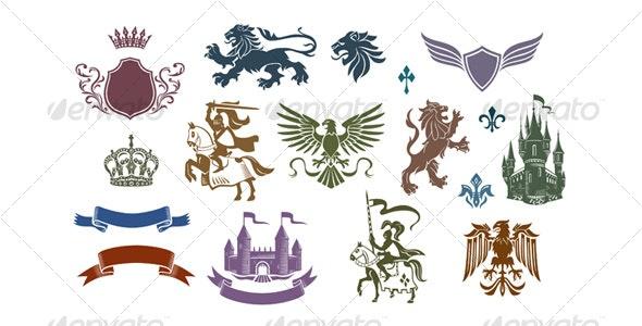 Heraldic vector set 01 - Animals Characters