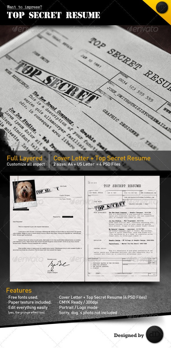 Top Secret Resume CV - Resumes Stationery