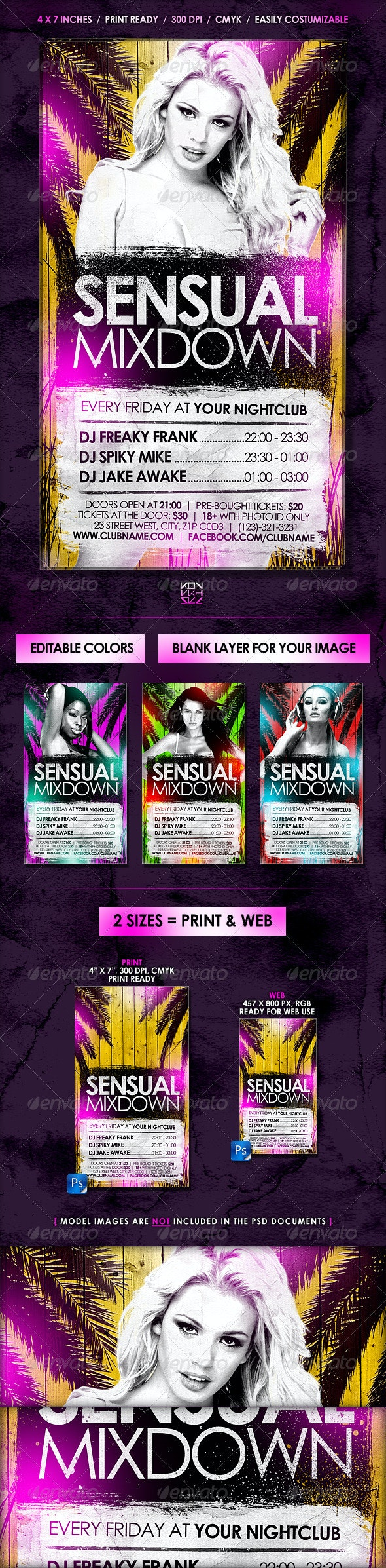 Sensual Flyer // Editable Colors - 2 Sizes - Clubs & Parties Events