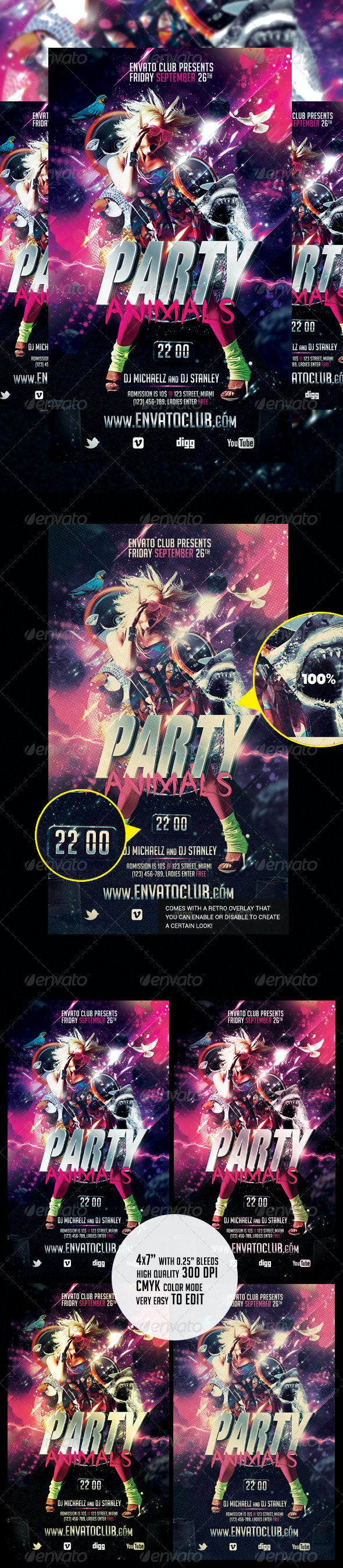 Party Animals Flyer - Clubs & Parties Events