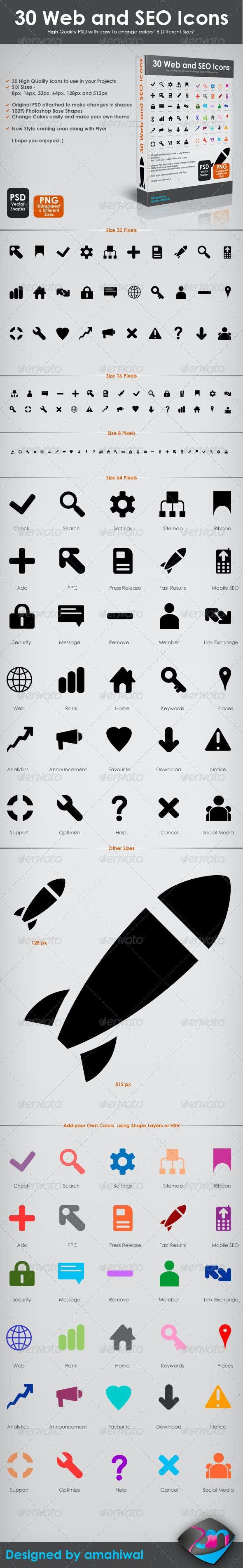 30 Web and SEO Icons - Web Icons