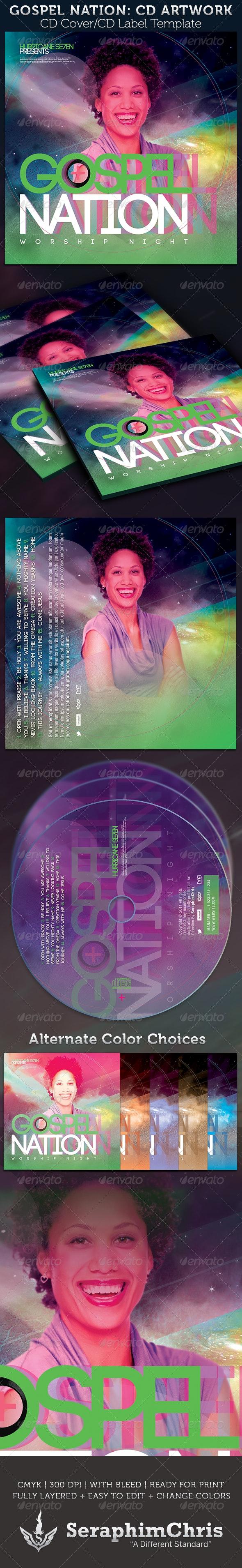 Gospel Nation CD Cover Artwork Template  - CD & DVD Artwork Print Templates