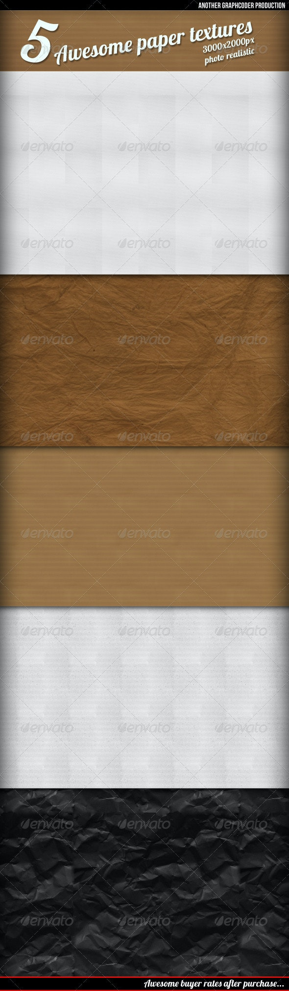 5 Awesome Retro Paper Textures/  Backgrounds - Paper Textures