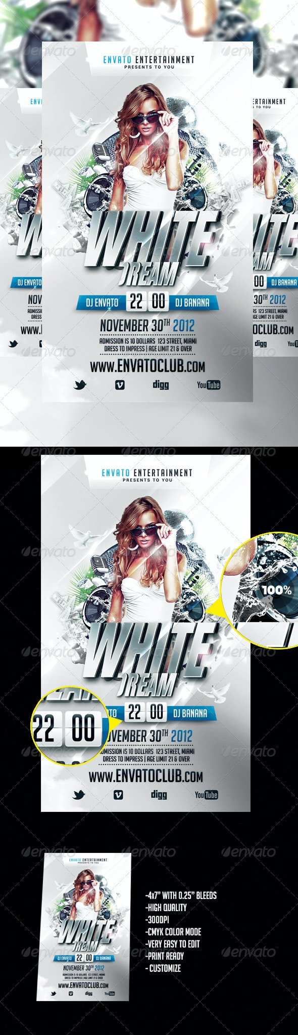White Dream Flyer - Clubs & Parties Events