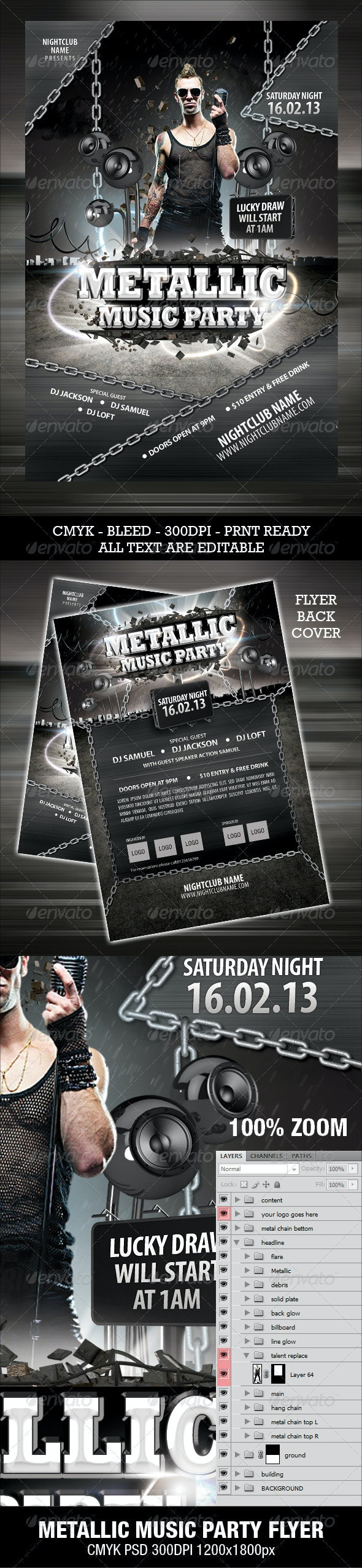 Metallic Music Party Flyer - Clubs & Parties Events