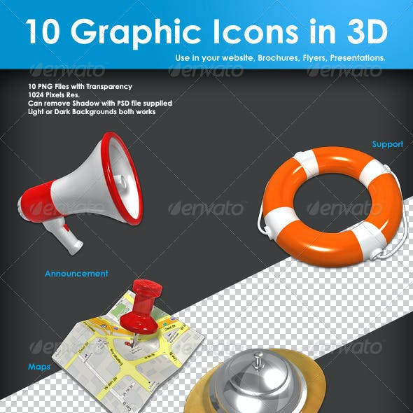 10 Graphic Icons in 3D