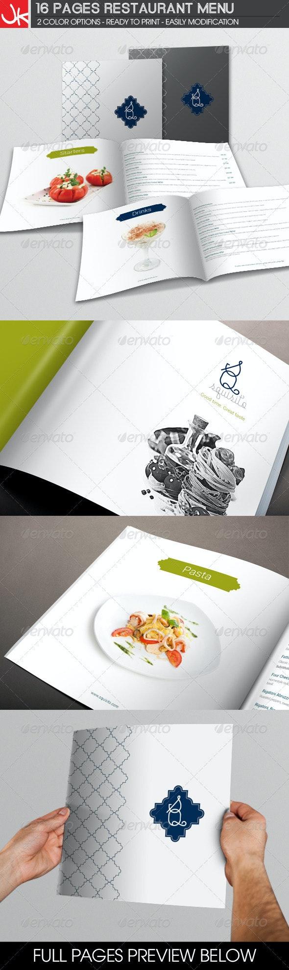16 Pages Restaurant Menu