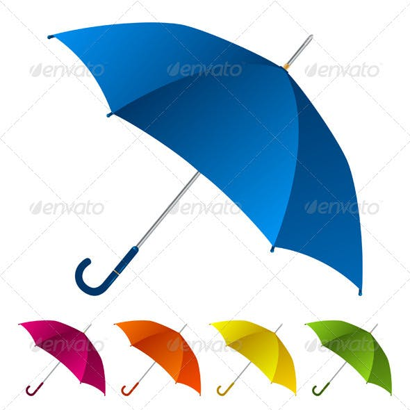 Colorful umbrellas collection