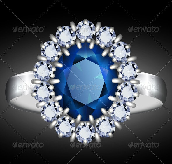 Sapphire ring illustration - Man-made Objects Objects