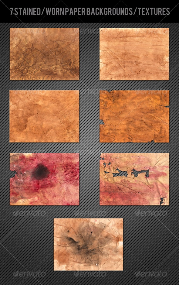 7 Stained/Worn Paper Textures/Backgrounds - Paper Textures