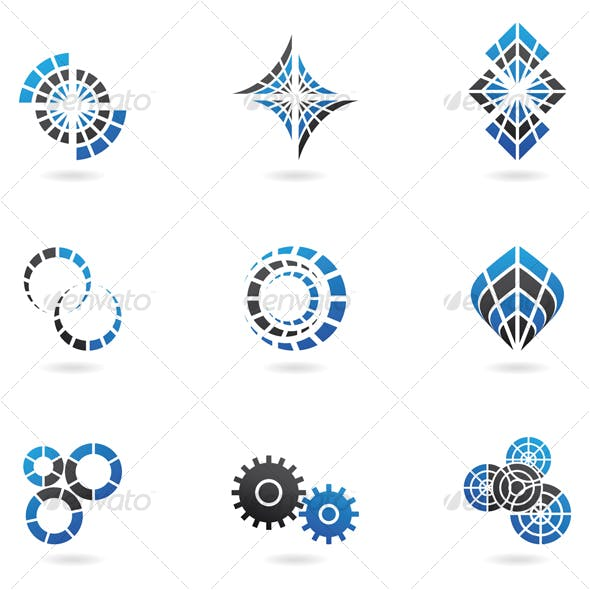 Blue Cog Icons (set of 9) Isolated on a White Back