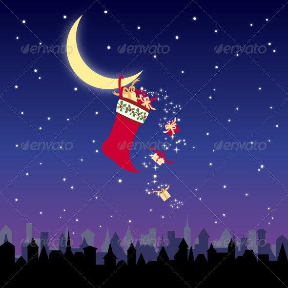 Christmas Stocking and Colorful Present - Christmas Seasons/Holidays