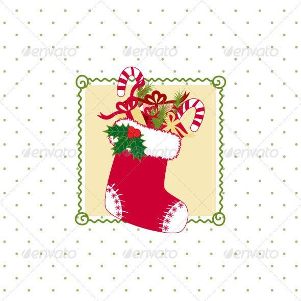 Christmas Stocking with Colorful Christmas Gifts