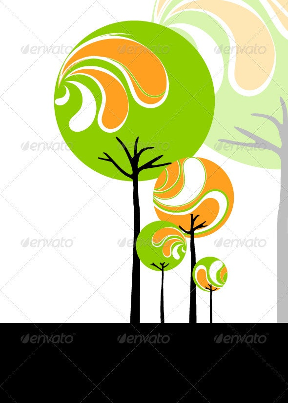Abstract Stylish Tree - Backgrounds Decorative