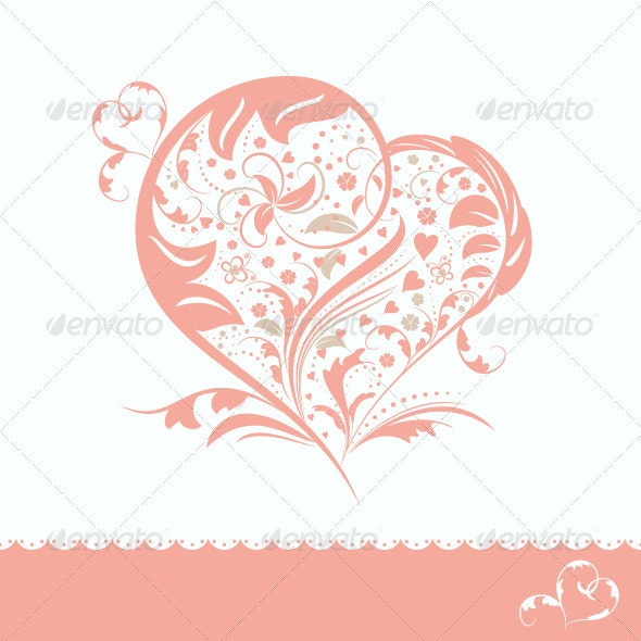 Abstract Pink Flower Heart Shape Card Design - Valentines Seasons/Holidays