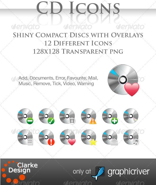 12 Compact Disc Icons - Media Icons
