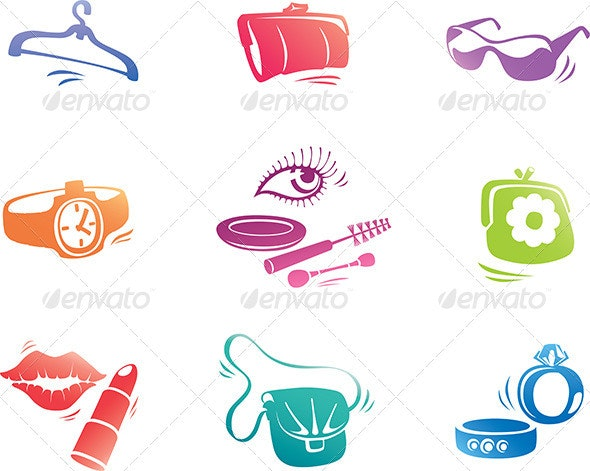 Fashion Accessories Icon Set - Objects Vectors