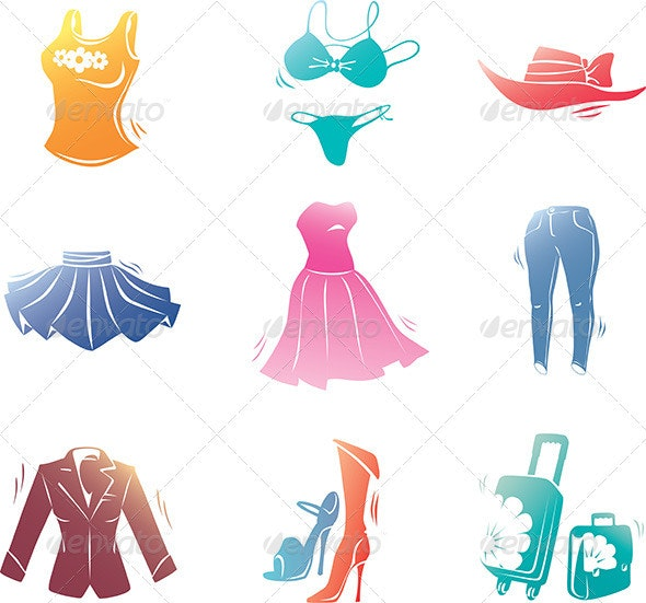Fashion Clothes Icons Set  - Objects Vectors