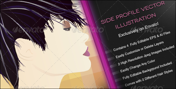 Side Profile Vector Illustration - People Characters