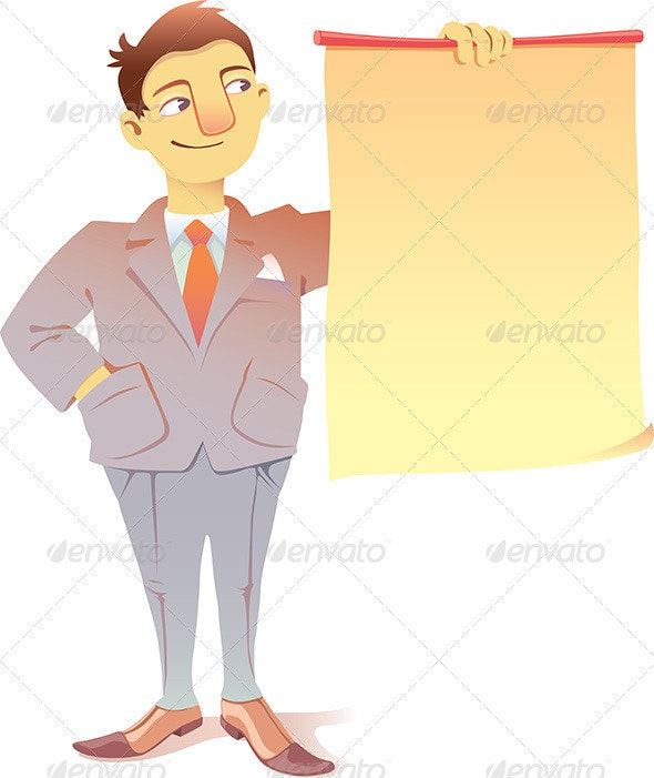 Businessman with a Blank Placard - Concepts Business