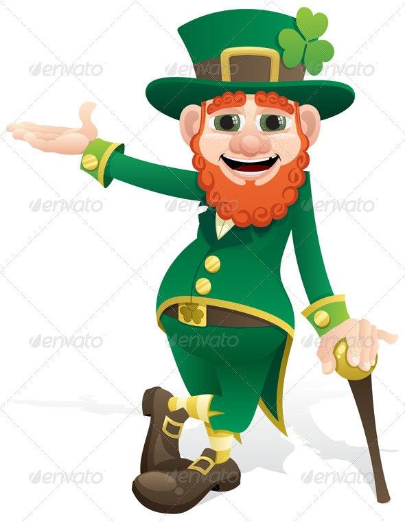Leprechaun Presenting - People Characters
