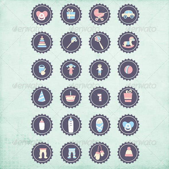 24 Vector Decorative Children Icons