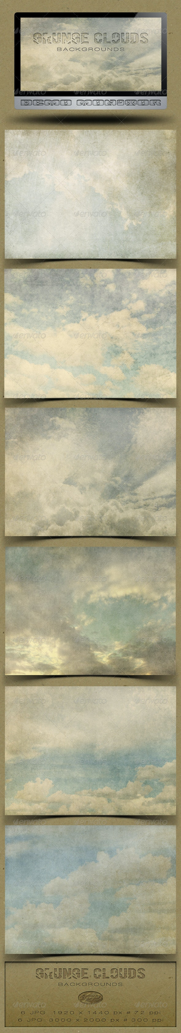 6 Grunge Clouds Backgrounds - Nature Backgrounds