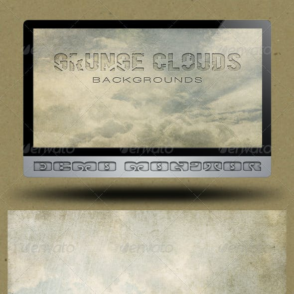 6 Grunge Clouds Backgrounds
