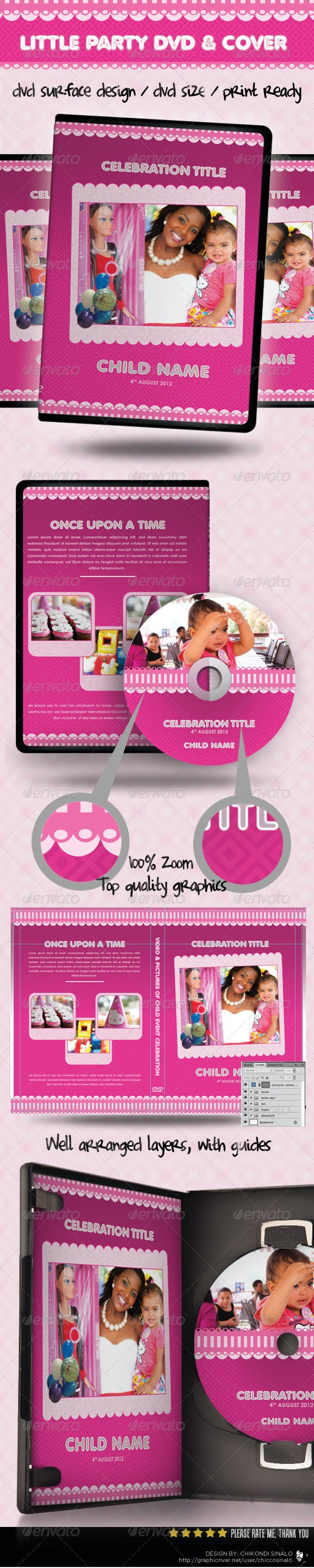 Little Party Dvd Cover Template - CD & DVD Artwork Print Templates
