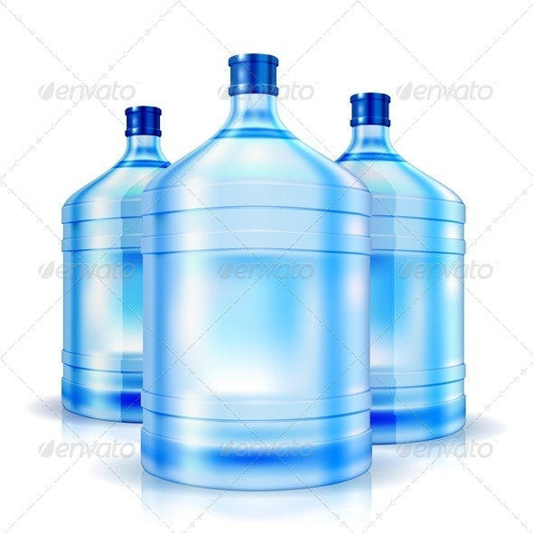 Three big bottles of water  for cooler - Food Objects