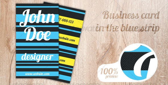 Business card with blue strips - Creative Business Cards