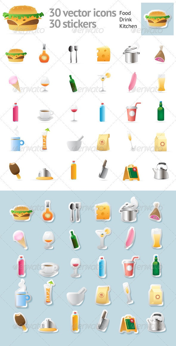 Set Of 30 Vector Icons For Food And Drinks - Food Objects