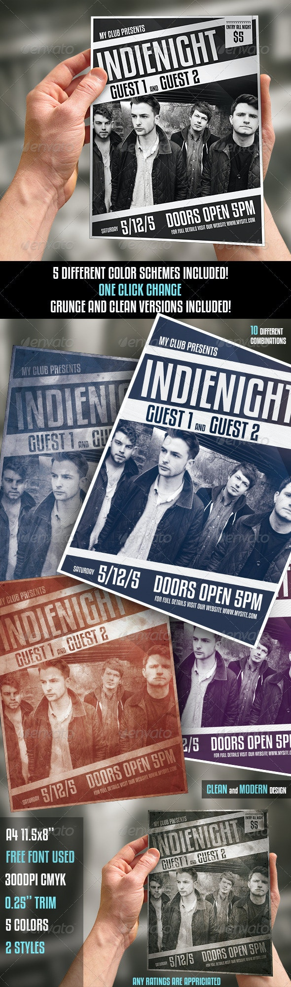 Indie - Modern Music Flyer - Concerts Events