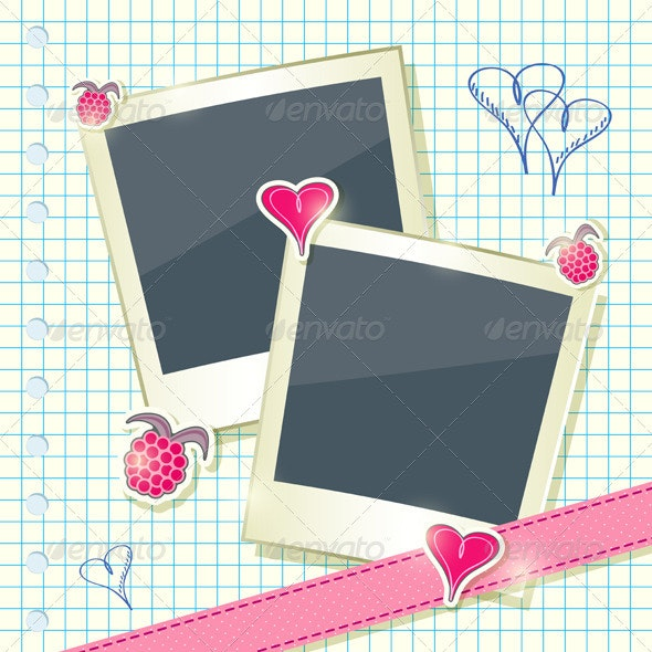 Card with Two Photo Frames - Backgrounds Decorative