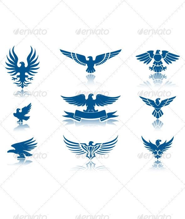 Retro Eagles insignias Set - Animals Characters