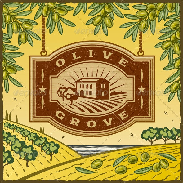 Retro Olive Grove - Decorative Symbols Decorative