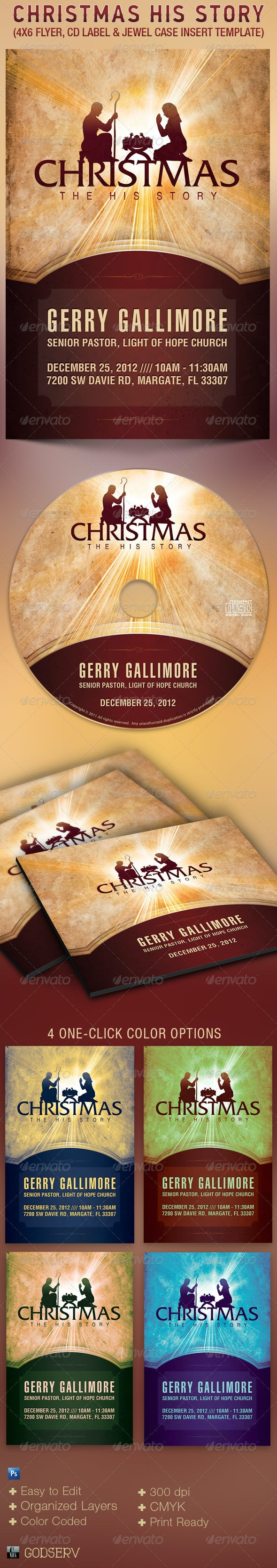 Christmas Story Flyer CD Label Template - Church Flyers
