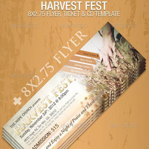 Harvest Fest Flyer CD Ticket Template