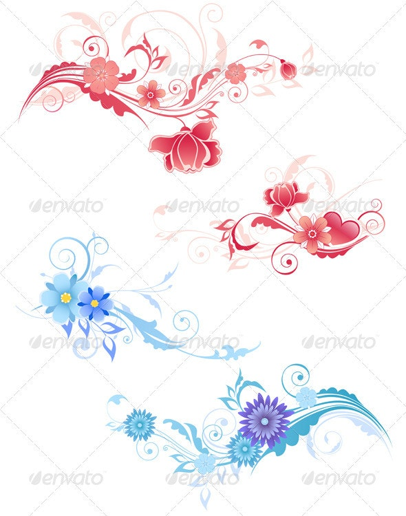 Decorative Flowers - Flourishes / Swirls Decorative