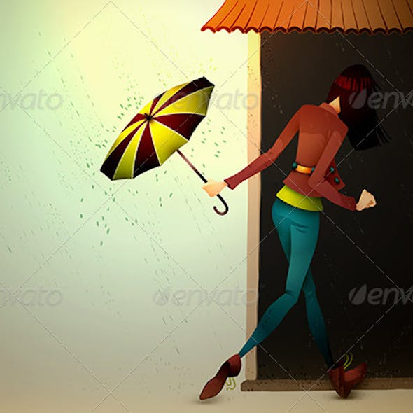 Young Woman hiding from Rain with Umbrella